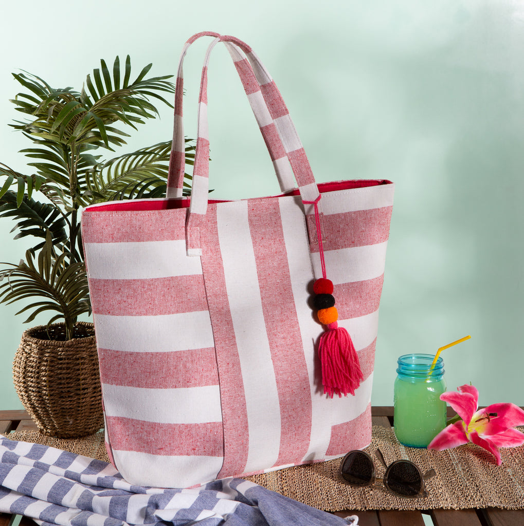 DII Red Boho Stripe Beach Bag