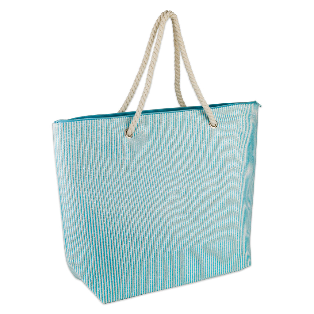 Blue Stripe Shimmer Beach Bag