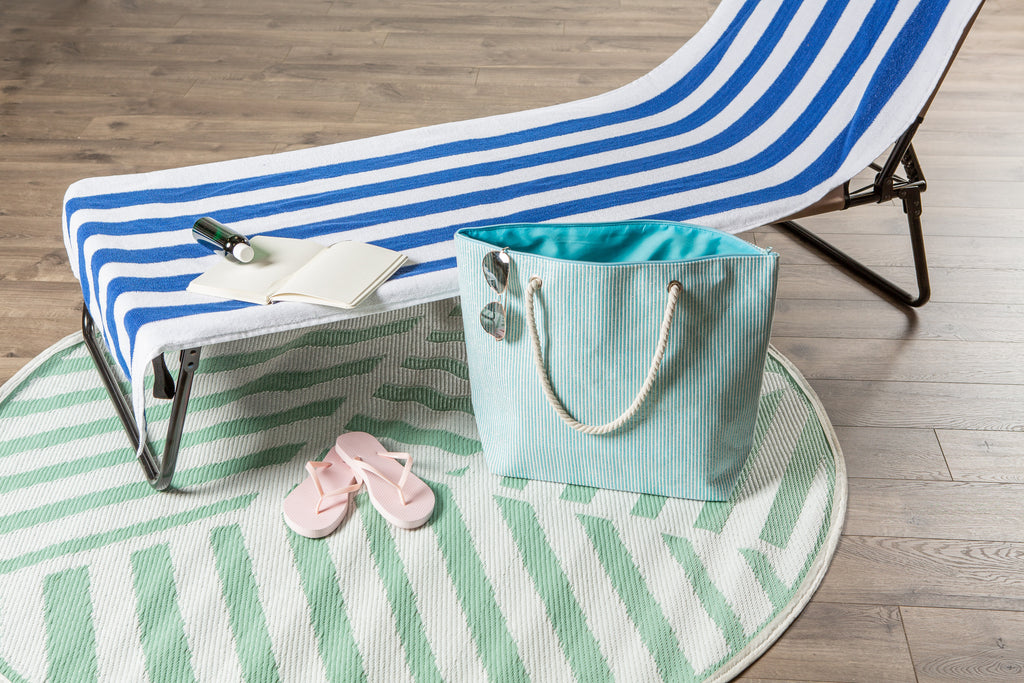 DII Blue Stripe Shimmer Beach Bag