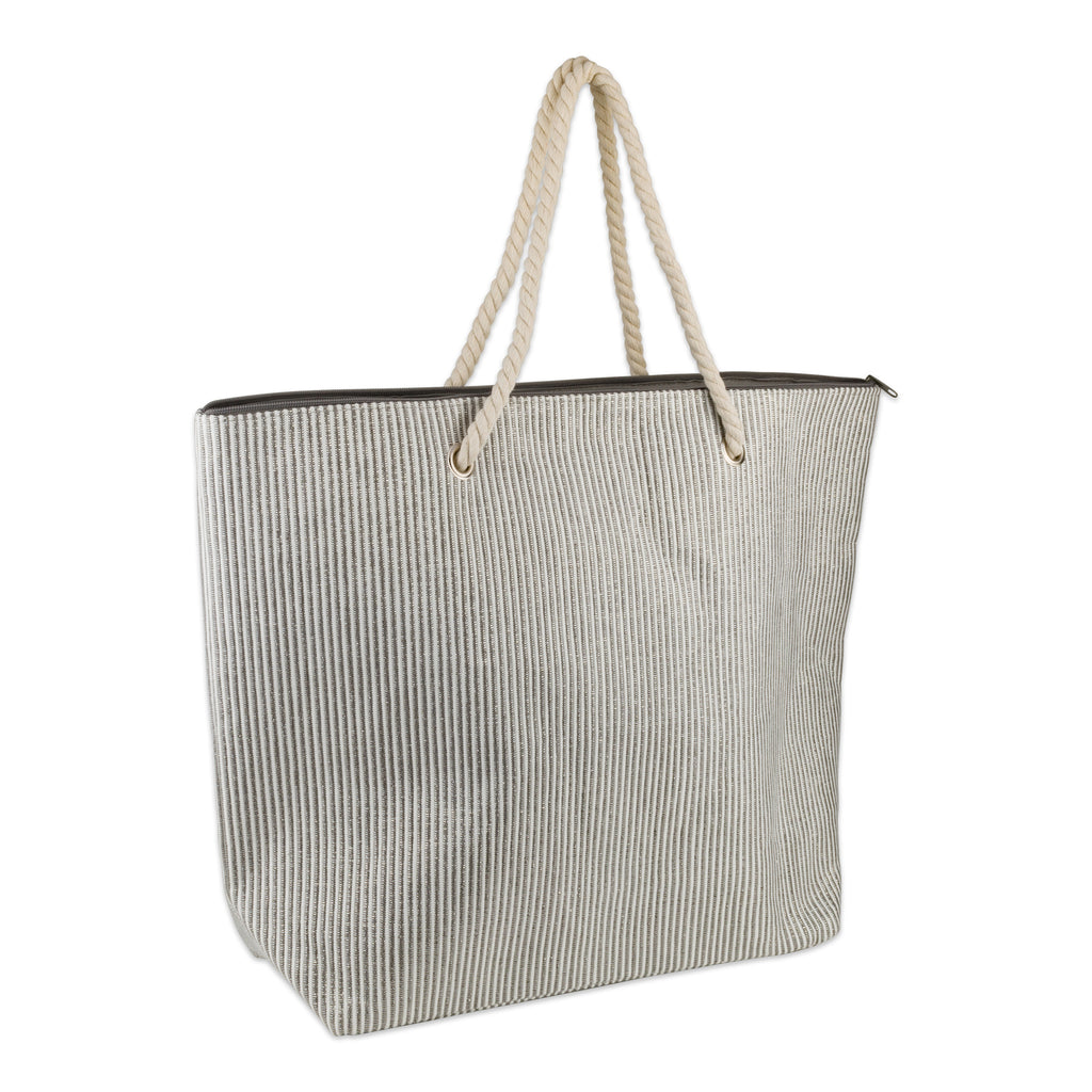 Gray Stripe Shimmer Beach Bag