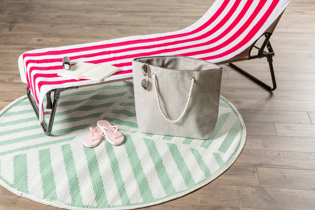 DII Gray Stripe Shimmer Beach Bag