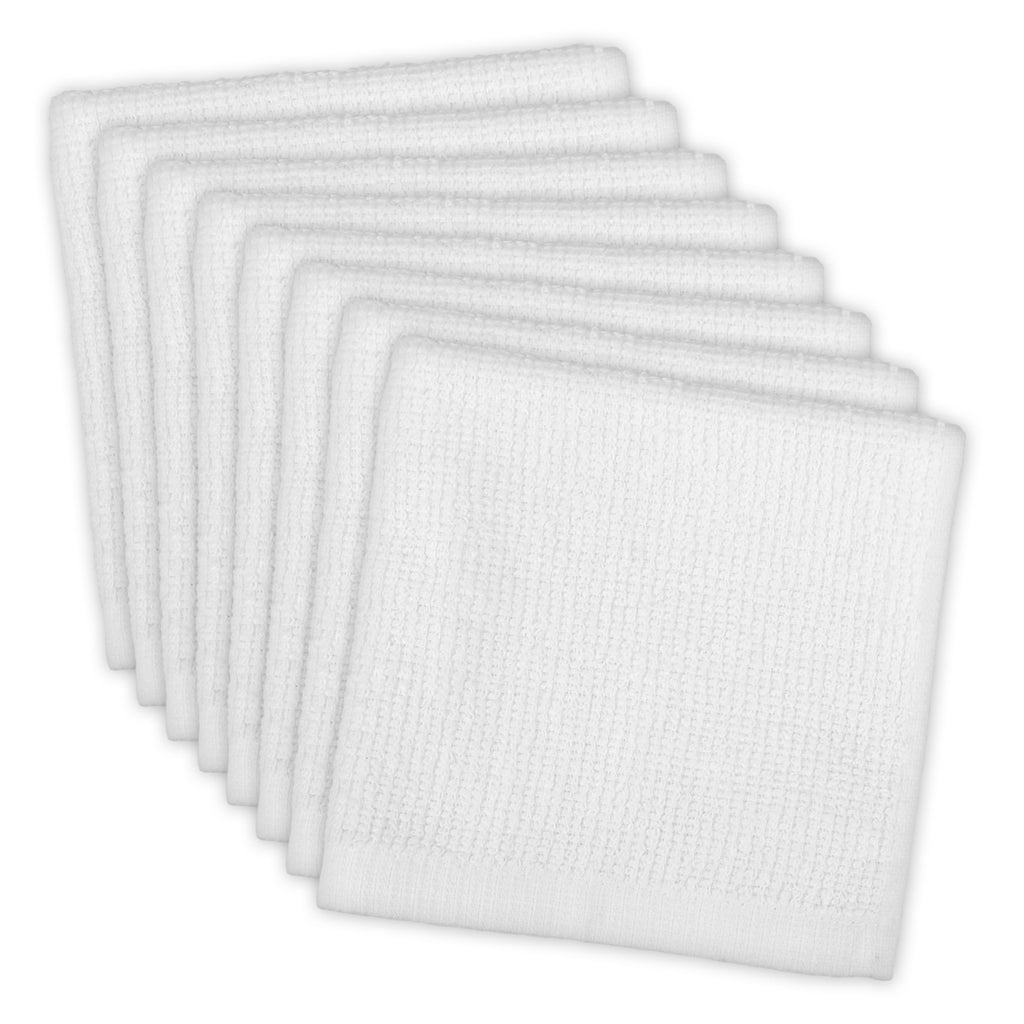 White Barmop Terry Dishcloth Set/8