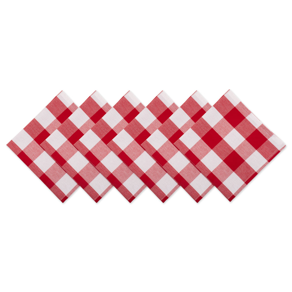 Red/White Check Napkin Set/6
