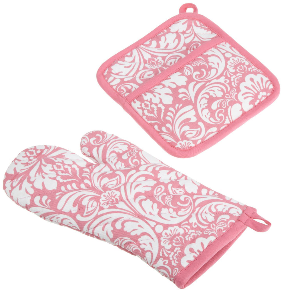 Pink Damask Oven Mitt & Potholder Set
