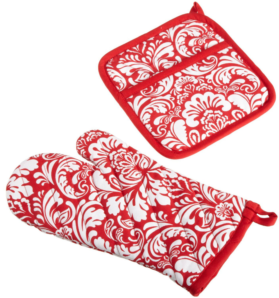 Tango Red Damask Ovenmitt & Potholder Set