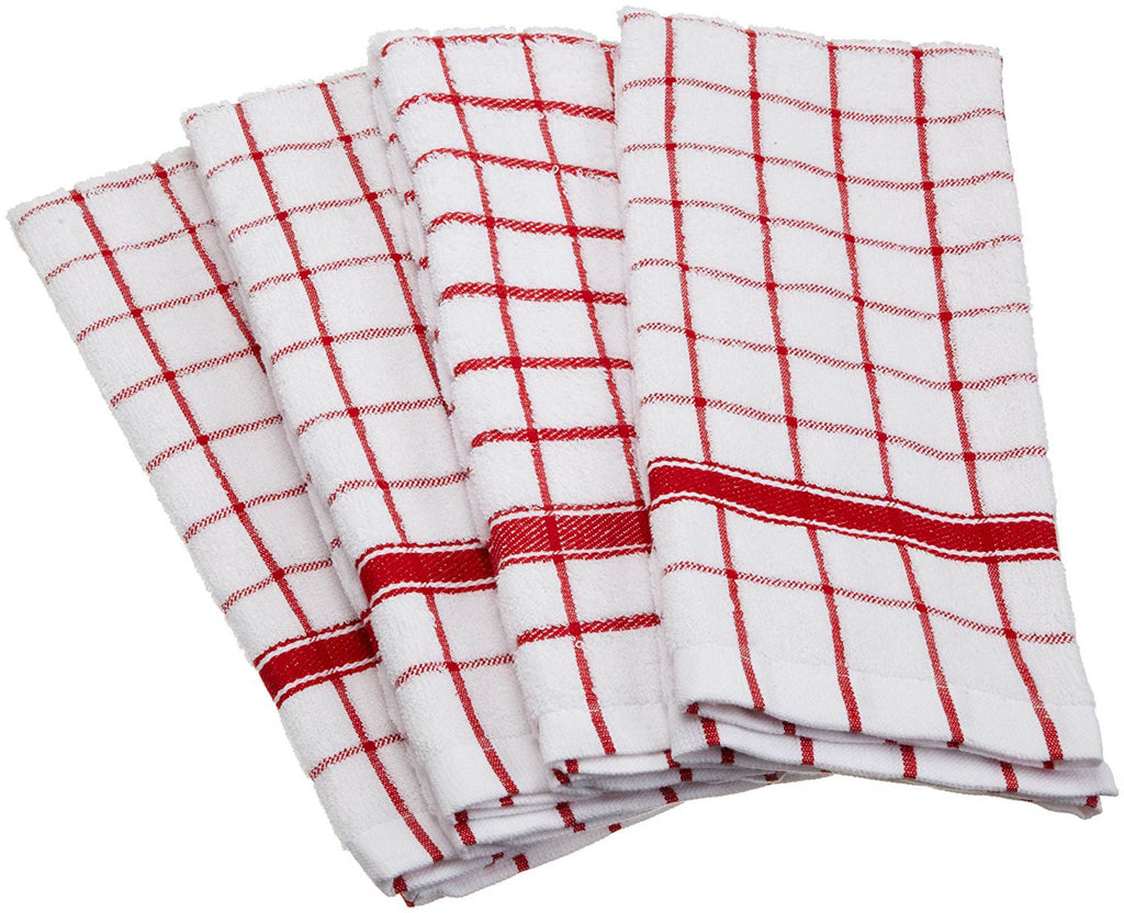 Red Windowpane Terry Dishtowel Set/4
