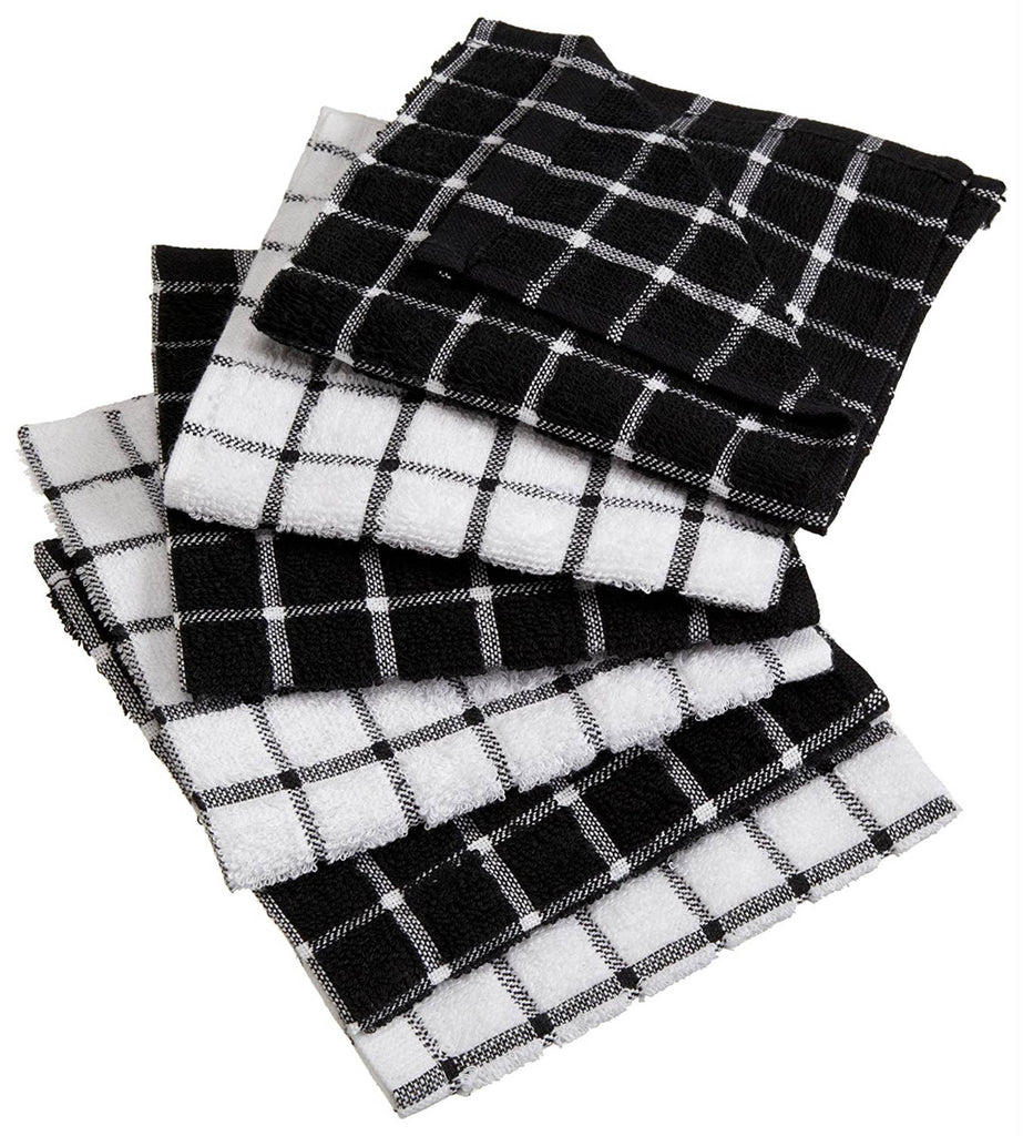 Black Combo Windowpane Dishcloth Set/6