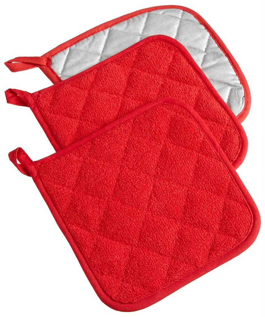 Red Terry Potholder Set/3