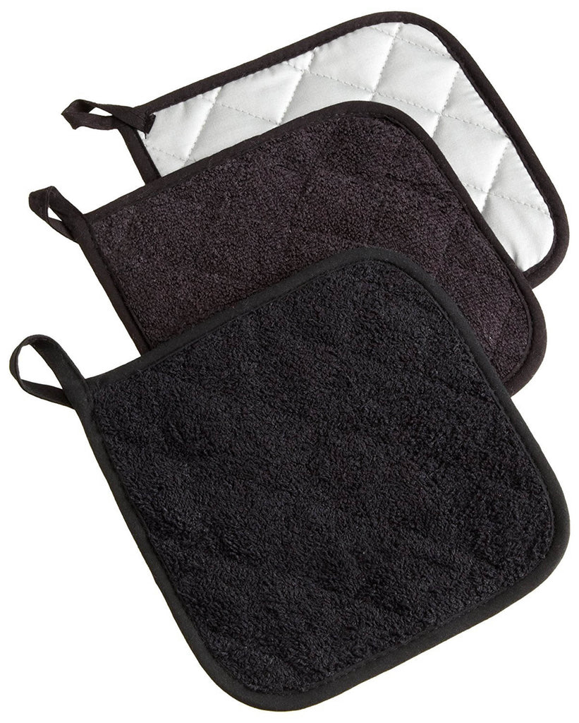 Black Terry Potholder Set/3