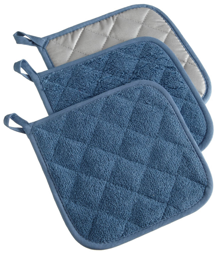 Blue Terry Potholder Set/3