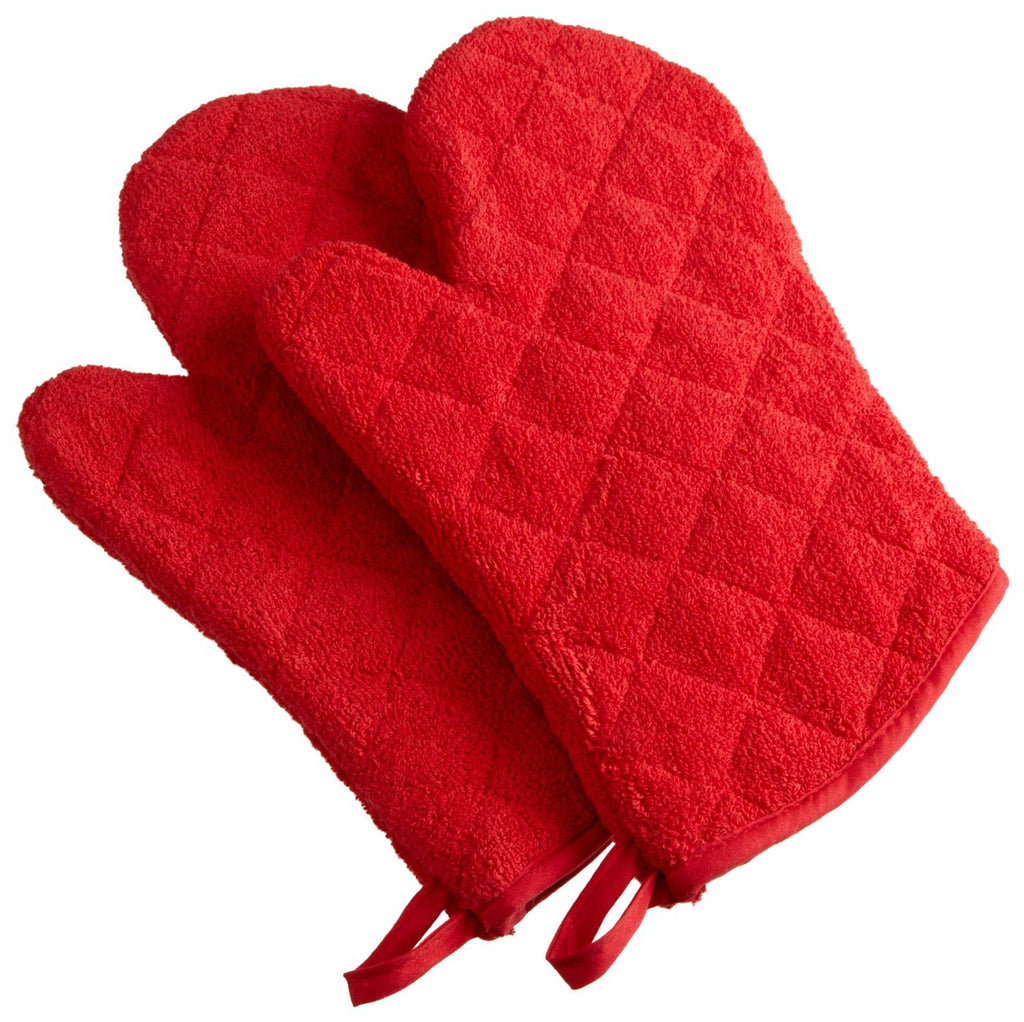 Red Terry Oven Mitt Set/2