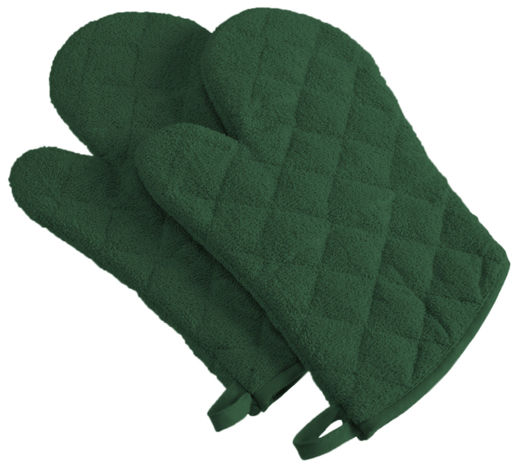 Dark Green Terry Oven Mitt Set/2