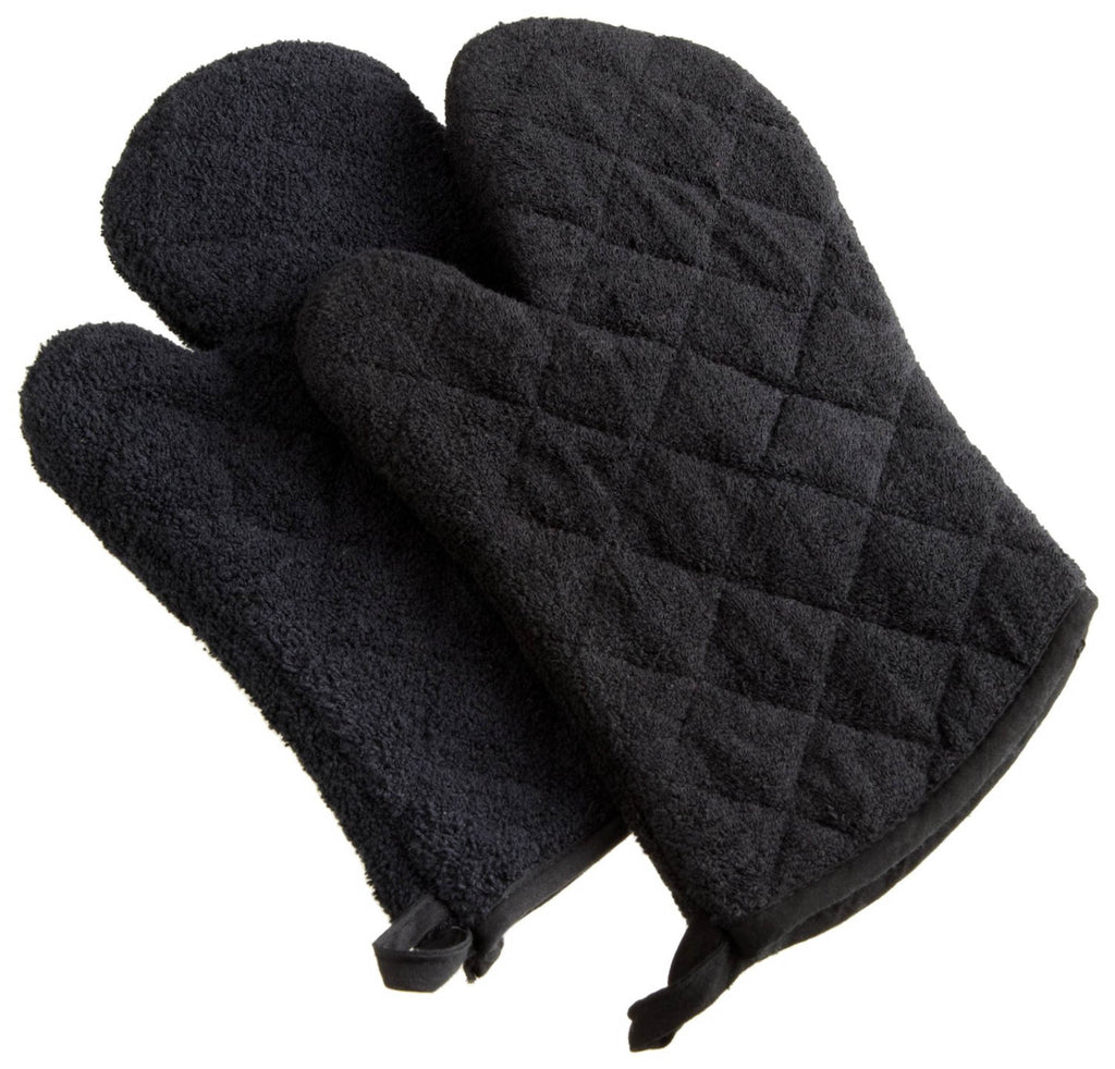Black Terry Oven Mitt Set/2