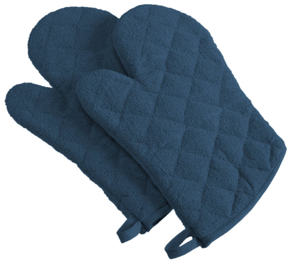 Blue Terry Oven Mitt Set/2