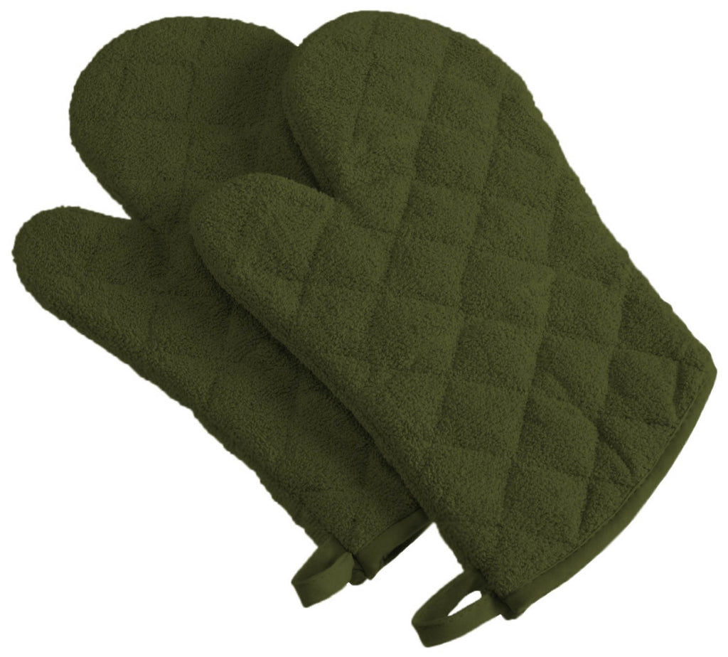 Sage Terry Oven Mitt Set/2