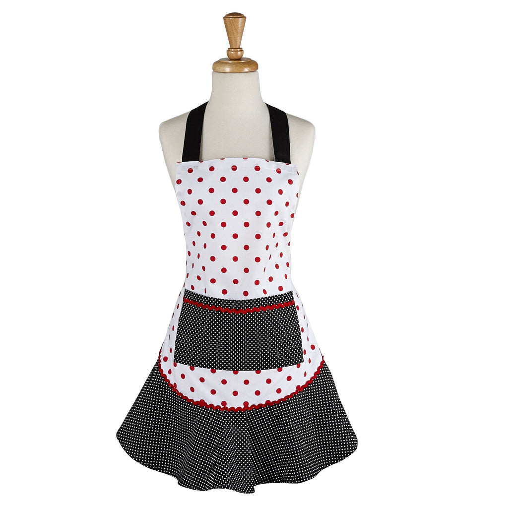 Black/Red Polka Dot Ruffle Ap