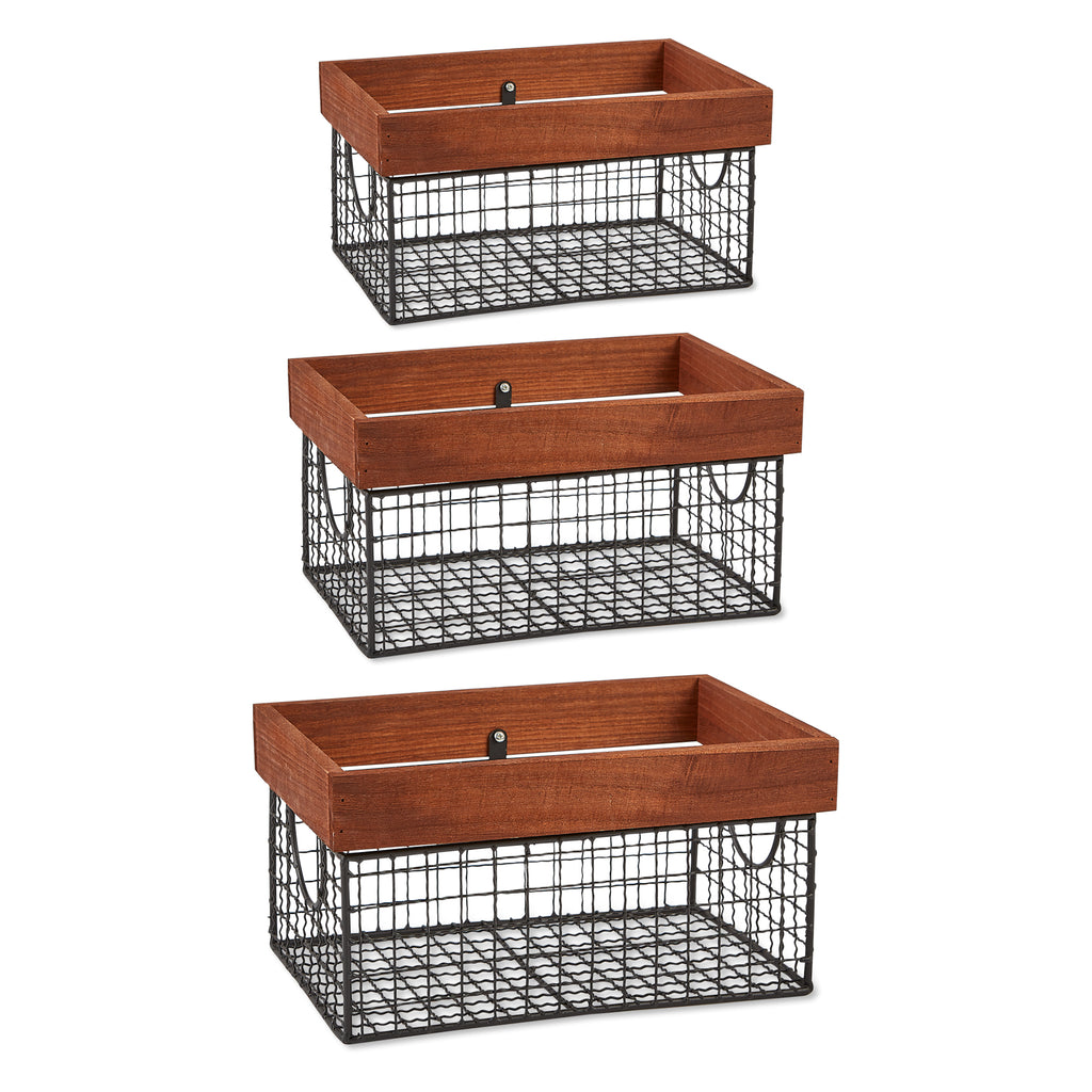 DII Assorted Bronze Finish Farmhouse Basket (Set of 3)