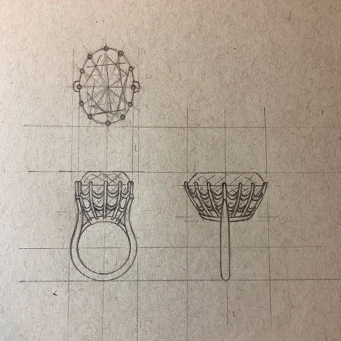 custom jewelry, sketching, jewelry design, jewelry redesign