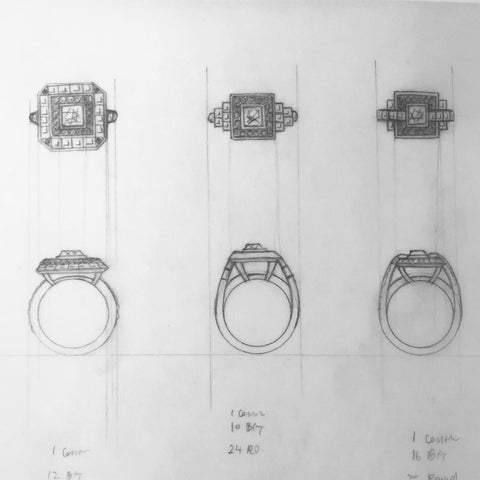 sketching, jewelry rendering, jewelry design, custom jewelry, jewelry makeover