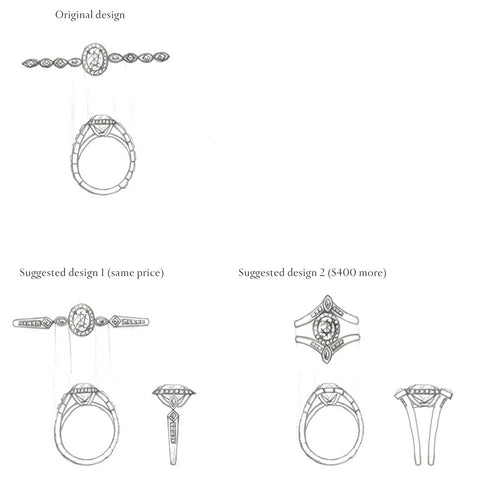 custom jewelry, jewelry design, sketching, jewelry makeover