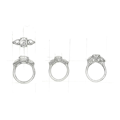 custom jewelry, sketching, jewelry design, fine jewelry
