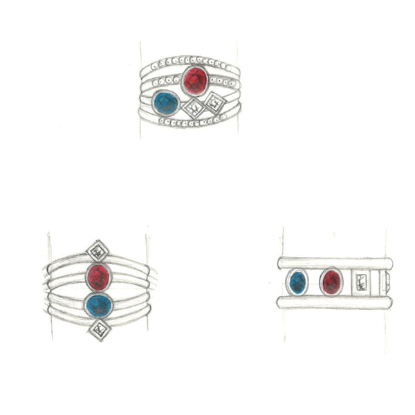 sketches, sketching, jewelry design, jewelry redesign, custom ring
