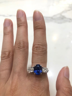Lauren - Sapphire engagement ring/ Baguette DI ring - remaining balance