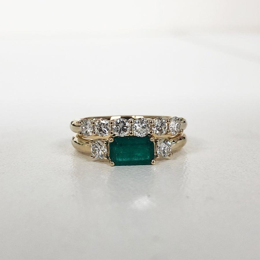 Marisa -Diamond and emerald ring - Remaining