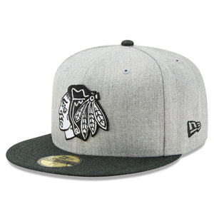 Chicago Blackhawks New Era Action 59FIFTY Fitted Hat - Heathered Gray Black ae35dc379