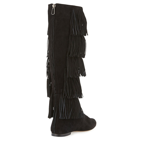 Paul Andrew Irving Suede Tiered Fringe Knee Boot Size 35 | 5