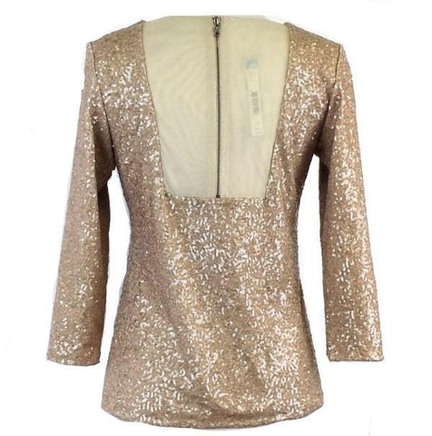 Alice + Olivia Women's Beige Sequined Long Sleeve Top - SZ Small