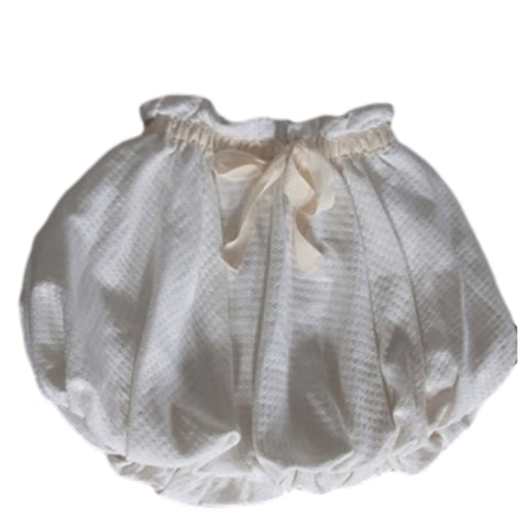 A. Bird Ilse Girls Cream Cotton Waffle Weave Bubble Skirt