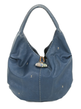 Blue Leather Couture Shoulder Bag