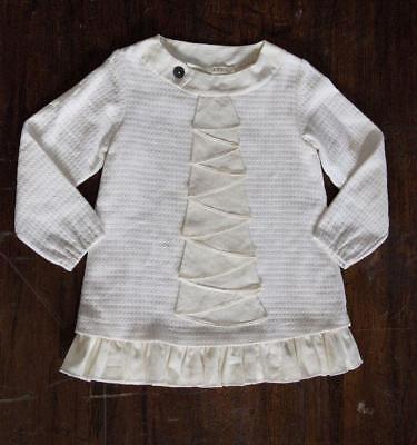 A. Bird Baby Girls Cream Waffle Weave Cotton Tunic Top