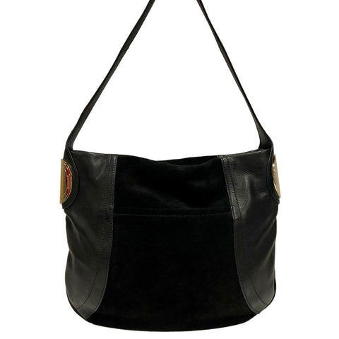 B. Makowsky Giamma Black Leather & Suede Hobo Bag w Hinge Hardware