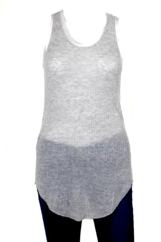 Rag & Bone Gray White Knit Satin Contrast Tank Top SZ 2XS New $295