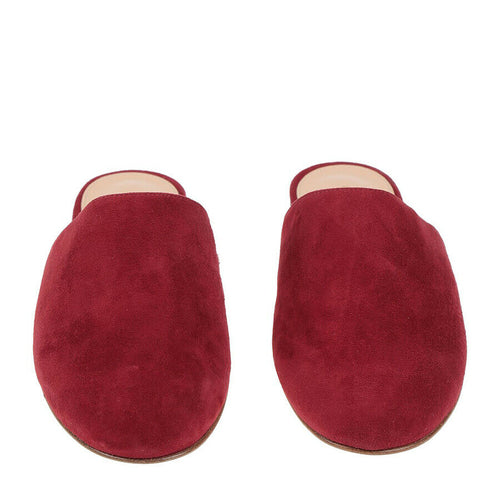 Gianvito Rossi Burgundy Suede Round-Toe Flat Mule - Size 35 | 5
