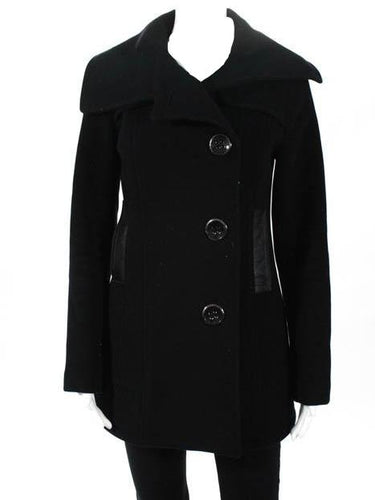 Mackage Black Wool Long Sleeve Button Down Pea Coat SZ Small