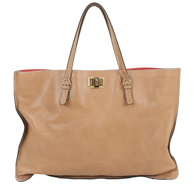Lanvin Beige Leather Large Shopping Bag Tote