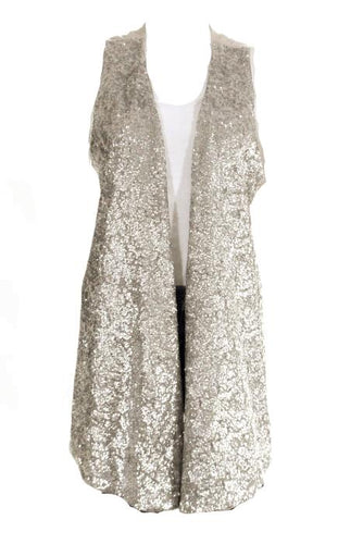 Alice + Olivia Beige Silver Sequined Open Front Sleeveless Vest Sweater SZ Large