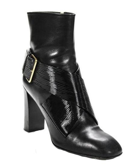 Louis Vuitton Black Leather Gold Buckle Belted Booties - SZ 38.5 8.5