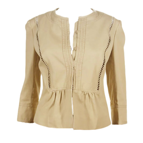 Valentino Roma Tan Cotton Blend Jacket Size 34 - $950