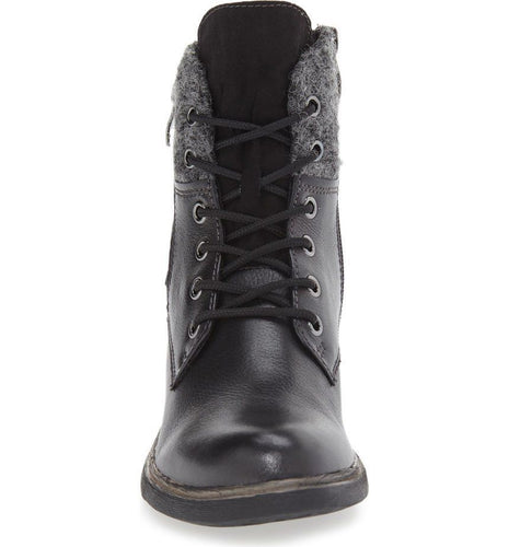 Tamaris Helios Black Leather Lace-Up Ankle Boots