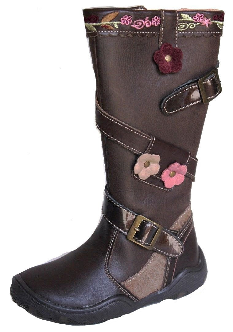 Beeko Ginger III Girls Brown w Pink Flowers Leather Boots SZ 9.5