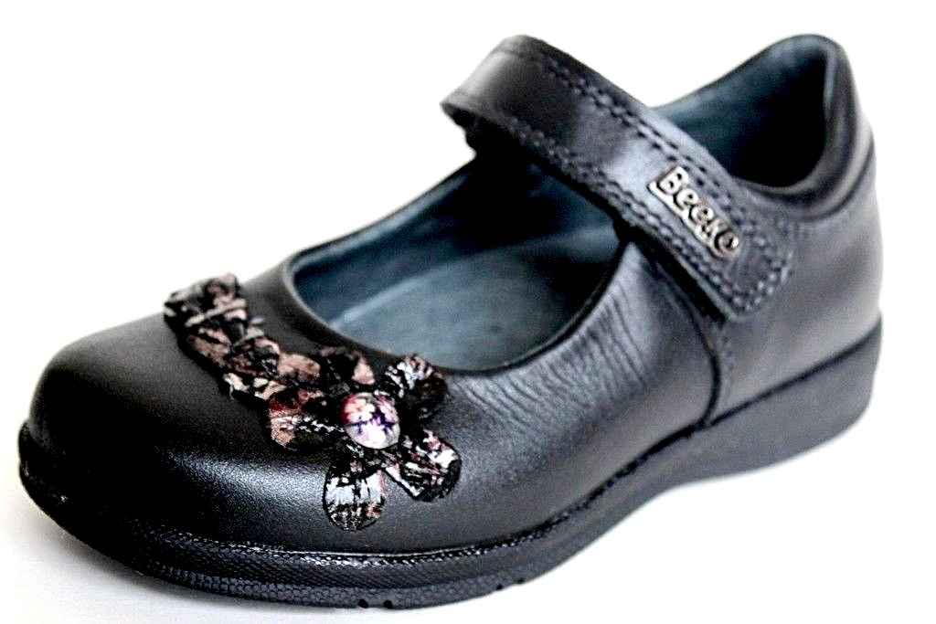 Beeko Hanna Girls Black Leather Mary Jane Shoes SZ 9.5