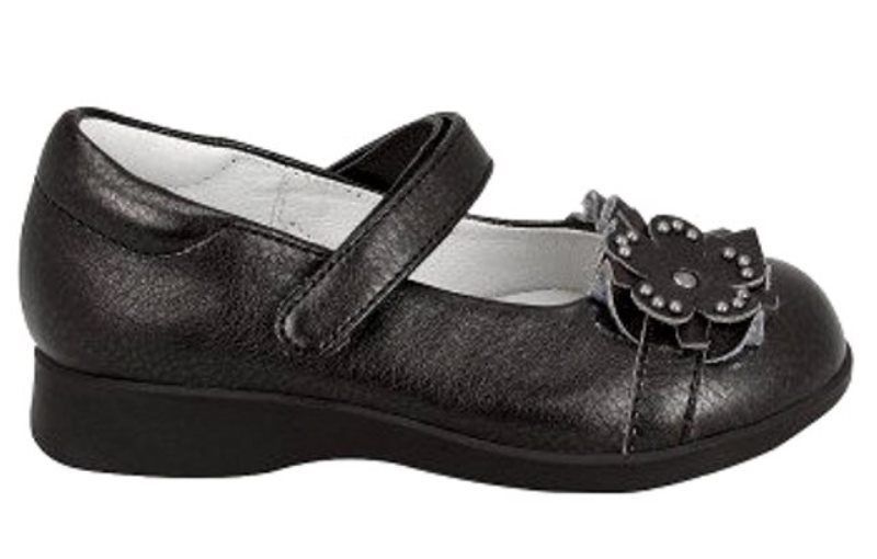 Nina Celine Girls Black Leather Mary Jane Shoes