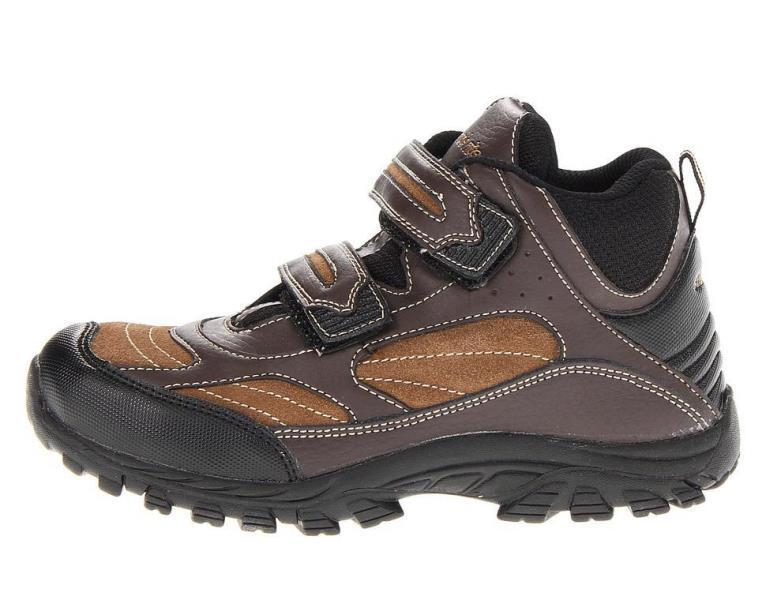 Stride Rite Rugged Ritchie Boys Brown Leather Hiking Boots SZ 10.5 Wide