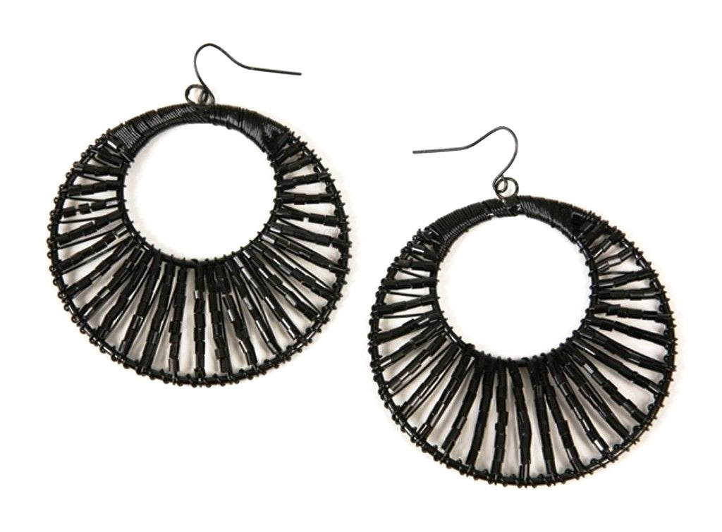 Black Large 2.25 inch Circle Fashion Earrings