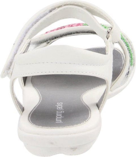 Jumping Jacks Dazzle Girls White Silver Pink Flower Sandals