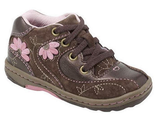 Stride Rite Noelle Girls Brown Leather w Pink Flower Shoes Size 8 Wide